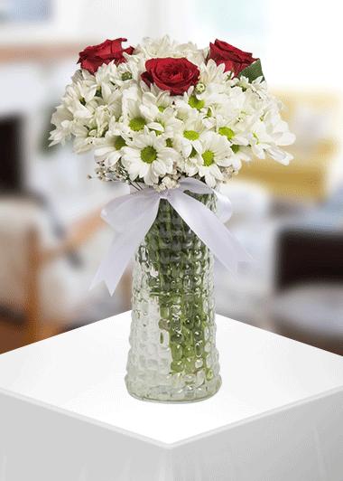 3 Gül Papatya Gaziantep Çiçek Gönder Gaziantep Çiçek Sepeti Siparişi