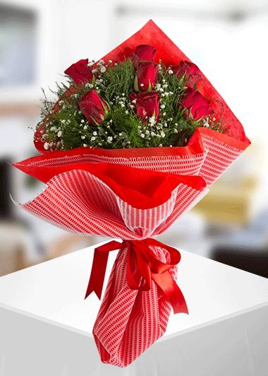 7 Kırmızı Gül Buketi Gaziantep Çiçek Sepeti Siparişi