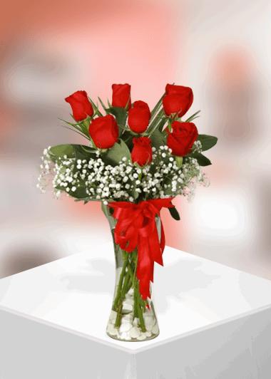 7 Kırmızı Gülün Zerafeti-22 Gaziantep Çiçek Sepeti Siparişi