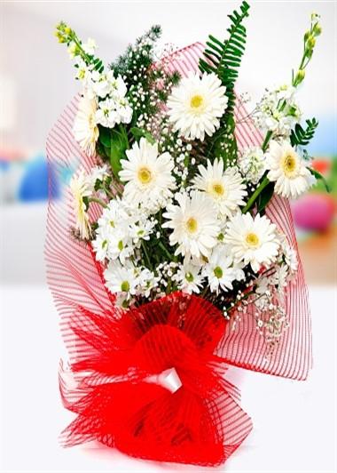 Beyaz Gerbera Buketi Gaziantep Çiçek Sepeti Siparişi