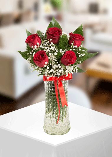 Gaziantep Çiçek Vazo 5 Gül Gaziantep Çiçek Sepeti Siparişi