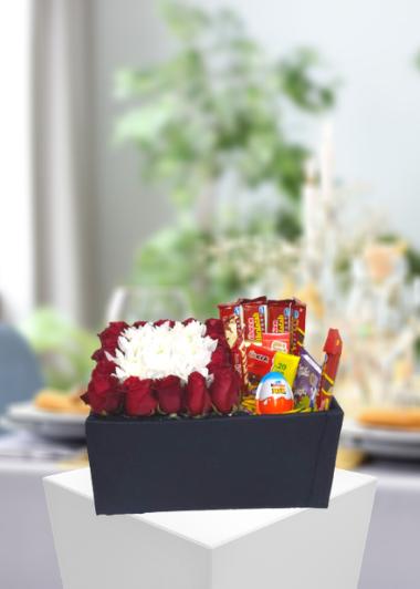 Gül Papatya ve Çikolata Kutusu Gaziantep Çiçekciler