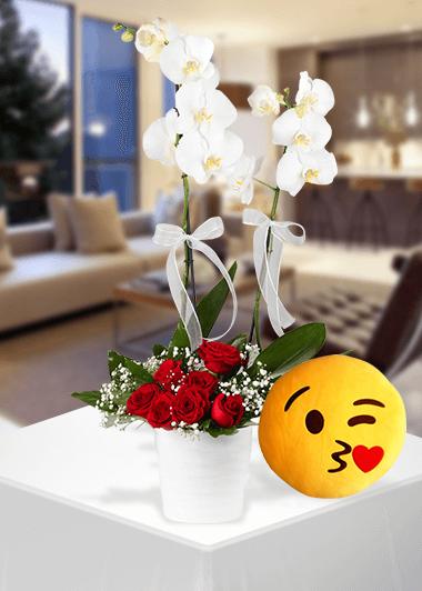 Orkide -Gülün Zerafeti -Emoji Yastık Gaziantep Çiçekciler