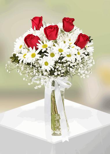 Papatya ve 5 gül-14 Gaziantep Çiçekciler