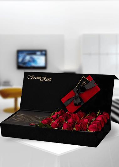 Secret Roses Kırmızı Gaziantep Çiçek Sepeti Siparişi