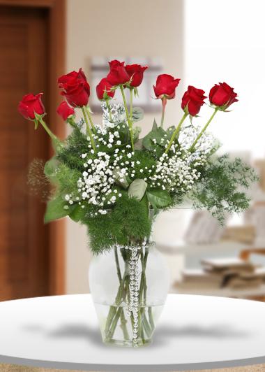 Vazo içinde 10 Gül-48 Gaziantep Çiçek Sepeti Siparişi